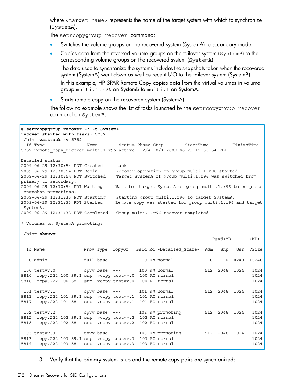 HP 3PAR Operating System Software User Manual | Page 212 / 289