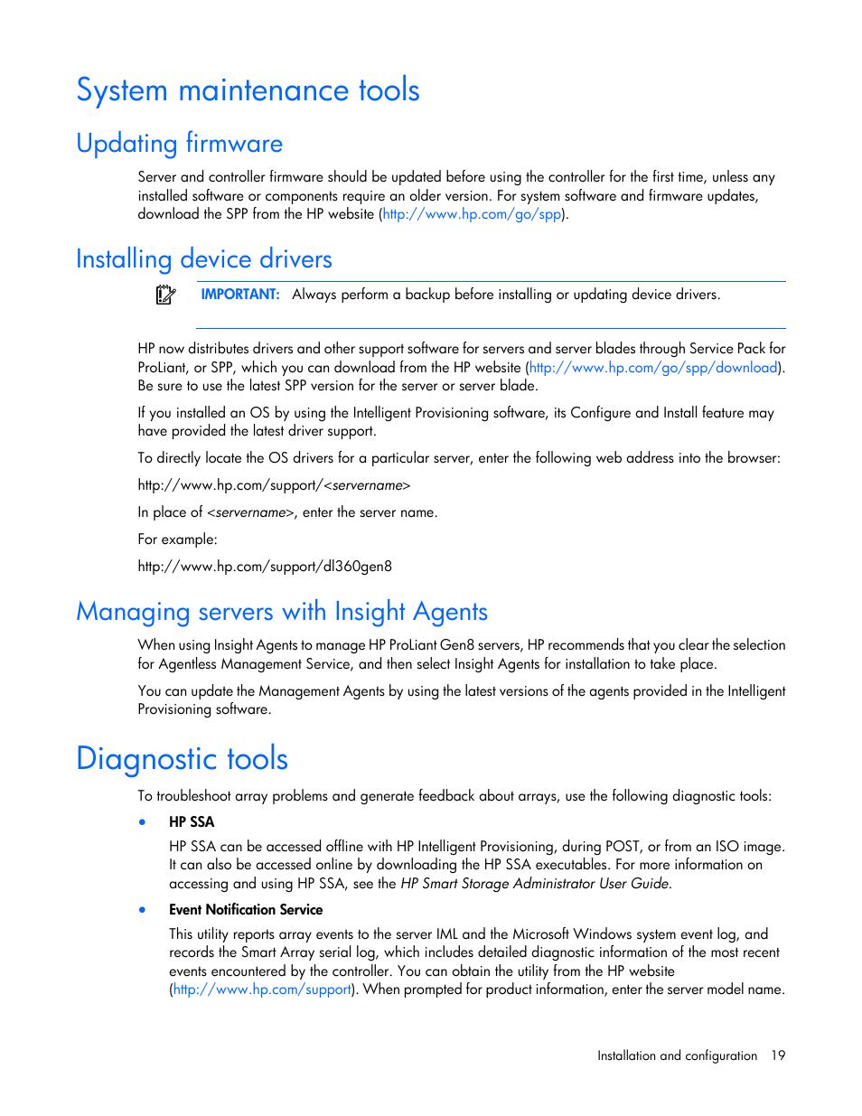 System maintenance tools, Updating firmware, Installing