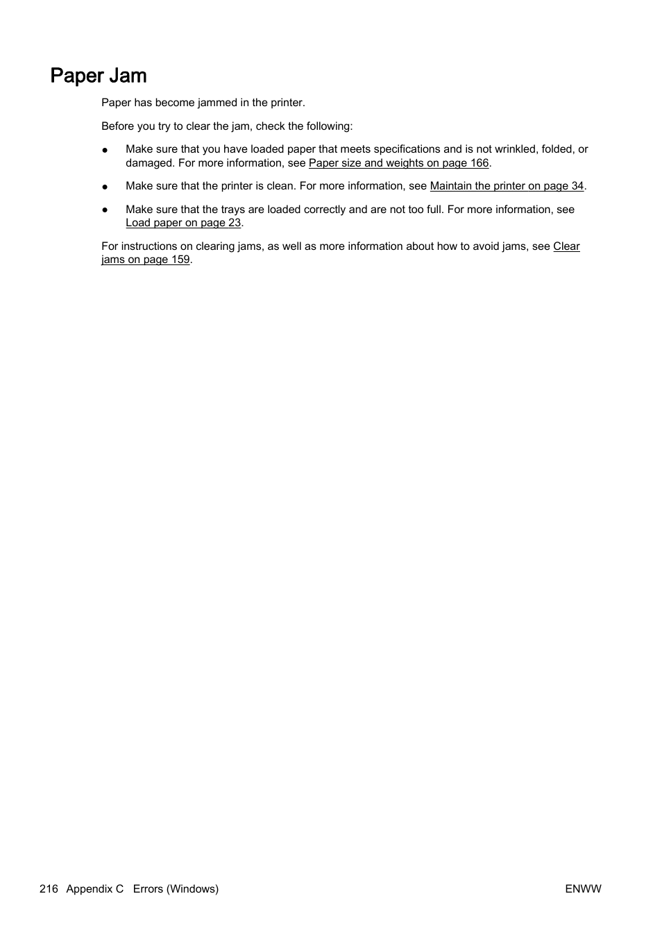 Paper jam | HP Officejet Pro 8610 e-All-in-One Printer User Manual