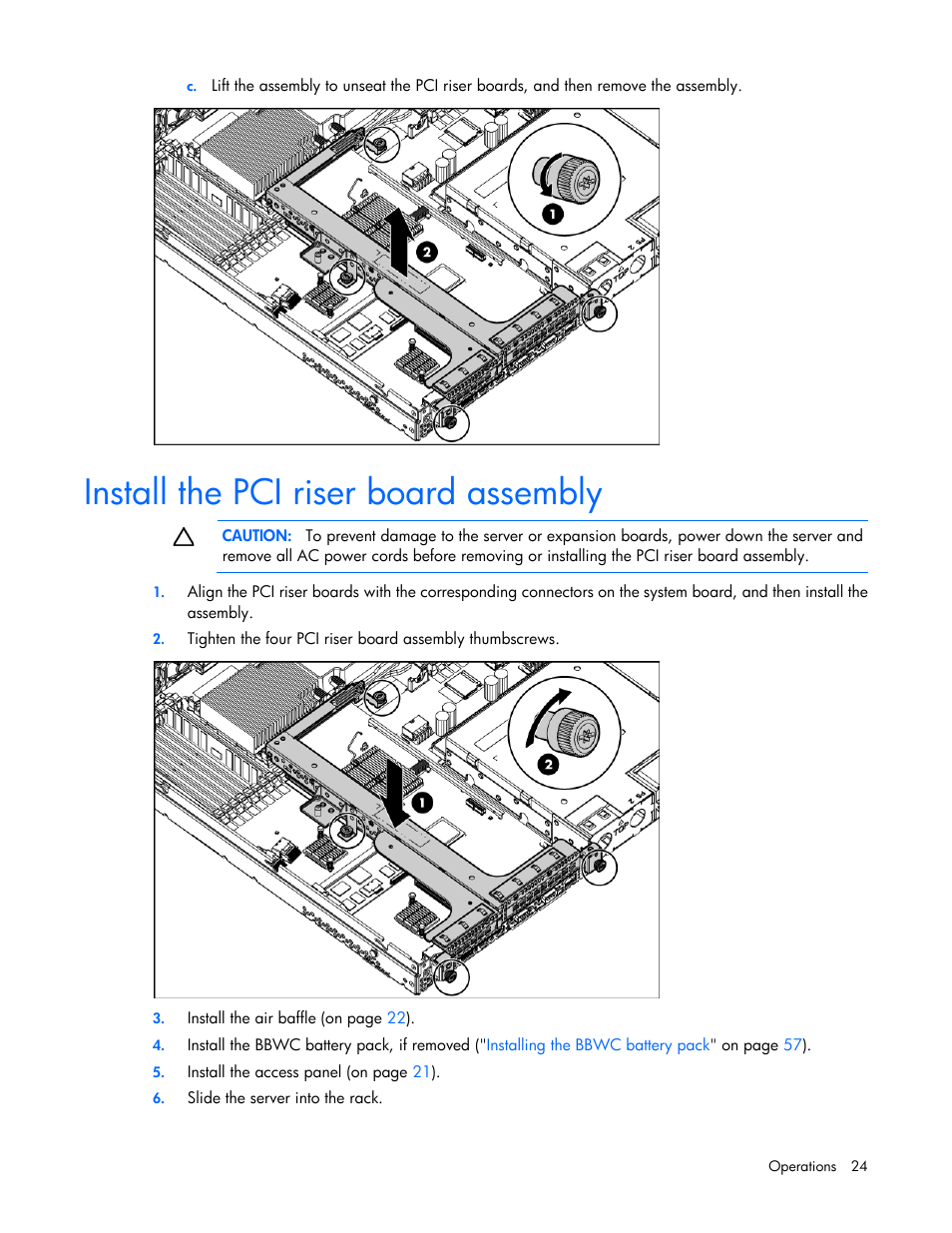 Install the pci riser board assembly | HP ProLiant DL360 G6