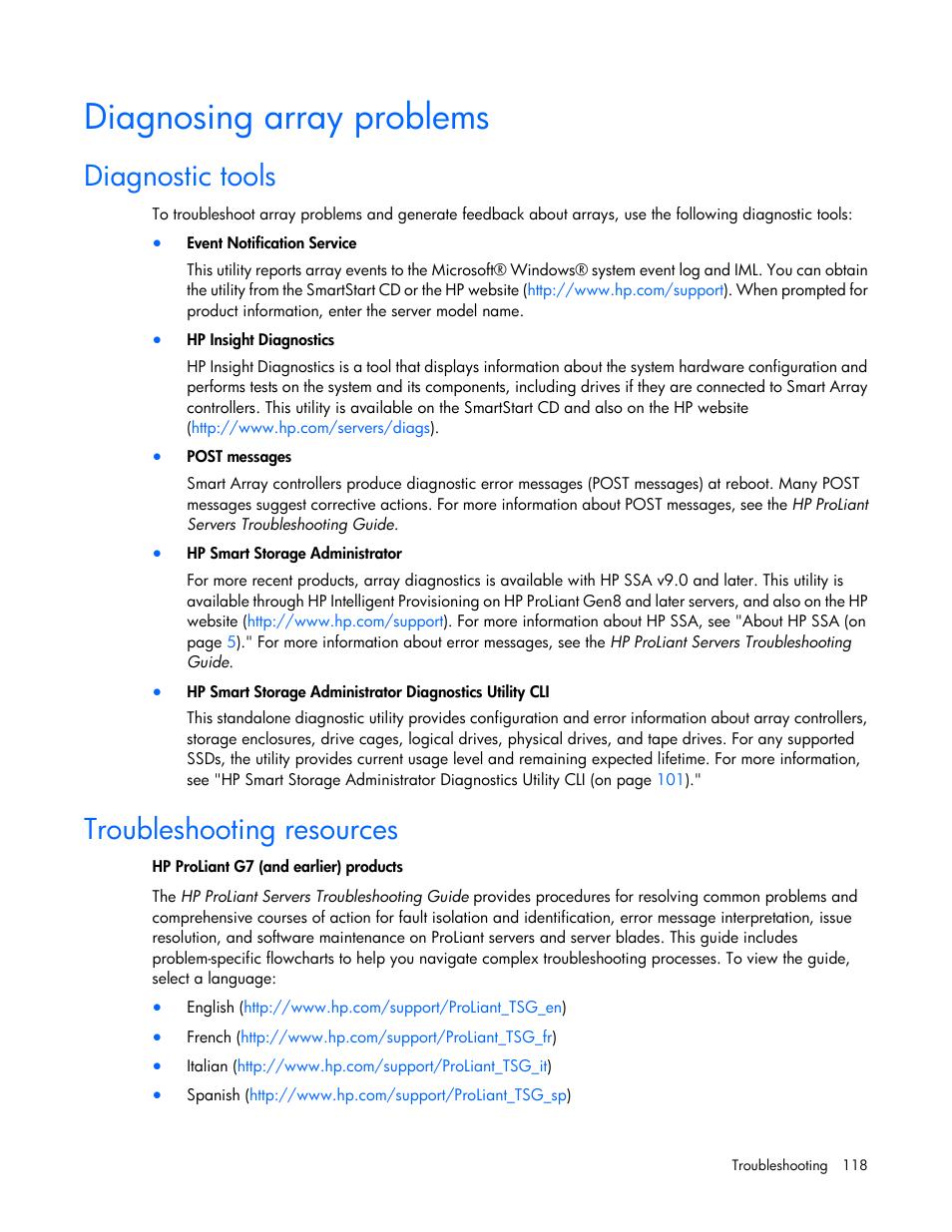 Diagnosing array problems, Diagnostic tools, Troubleshooting