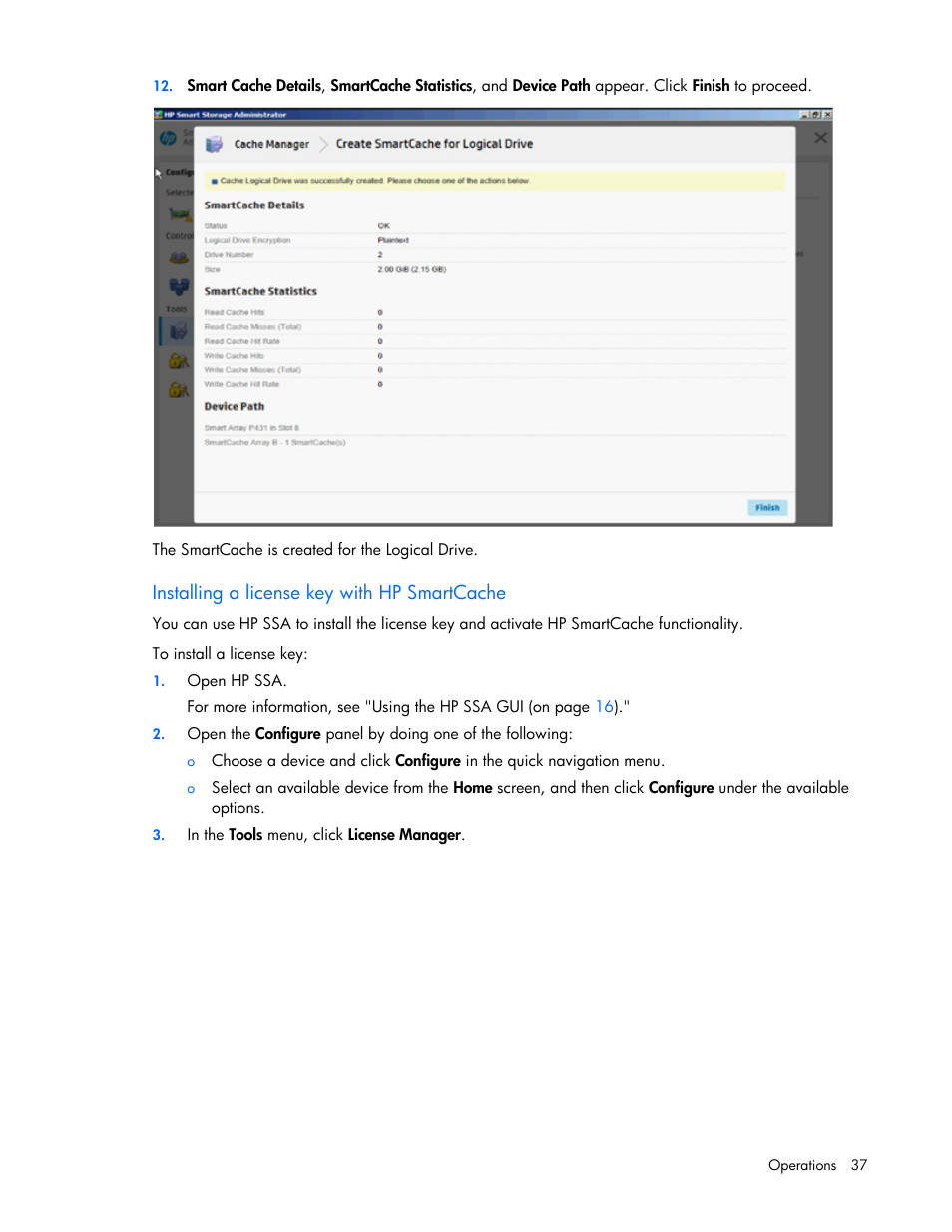 Installing a license key with hp smartcache | HP Smart