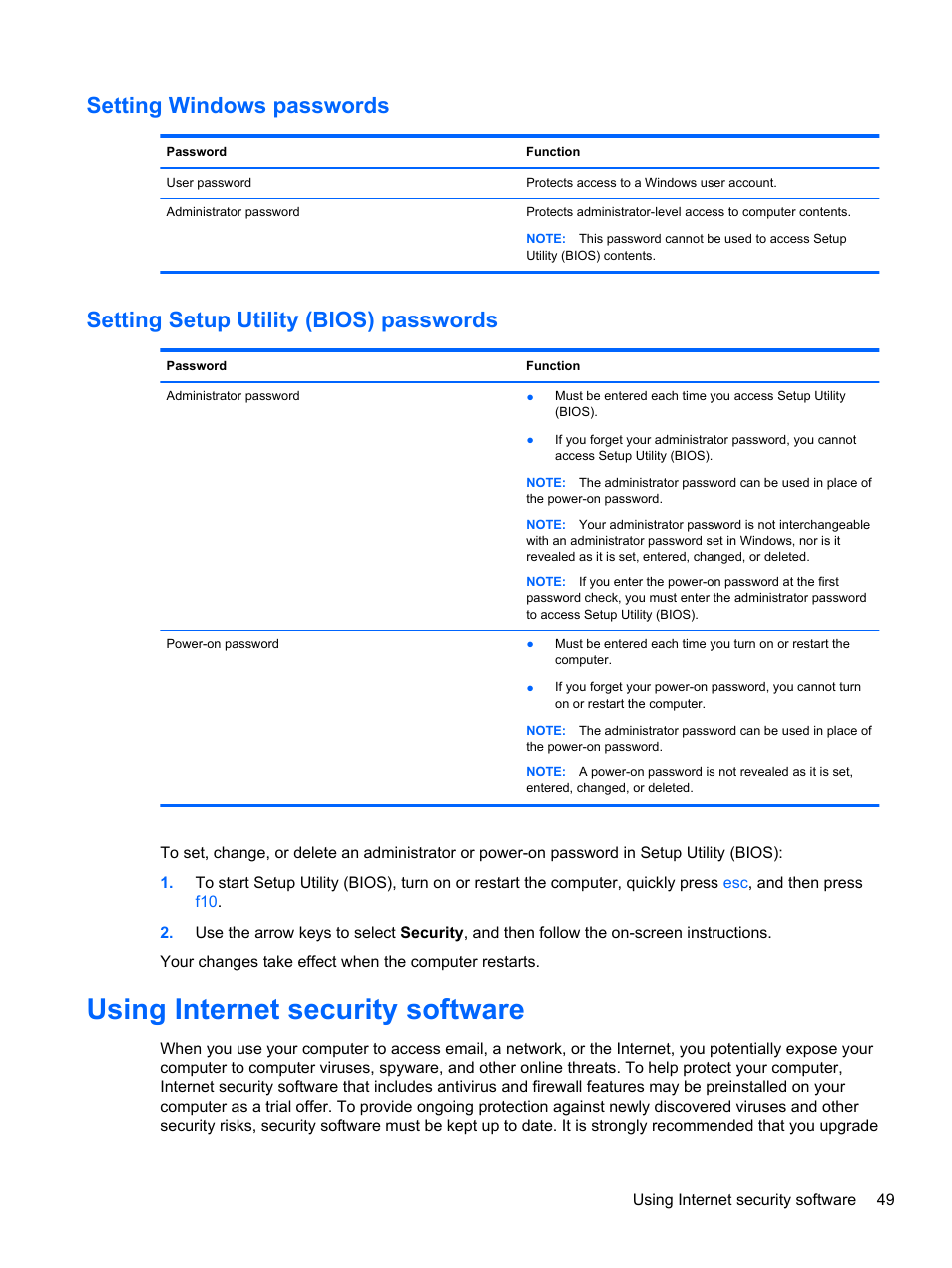 Setting windows passwords, Setting setup utility (bios) passwords