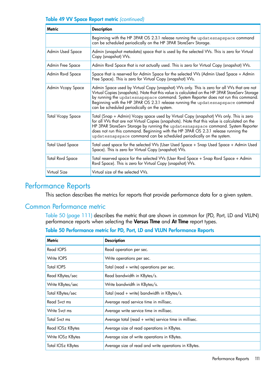 Performance reports, Common performance metric | HP 3PAR System