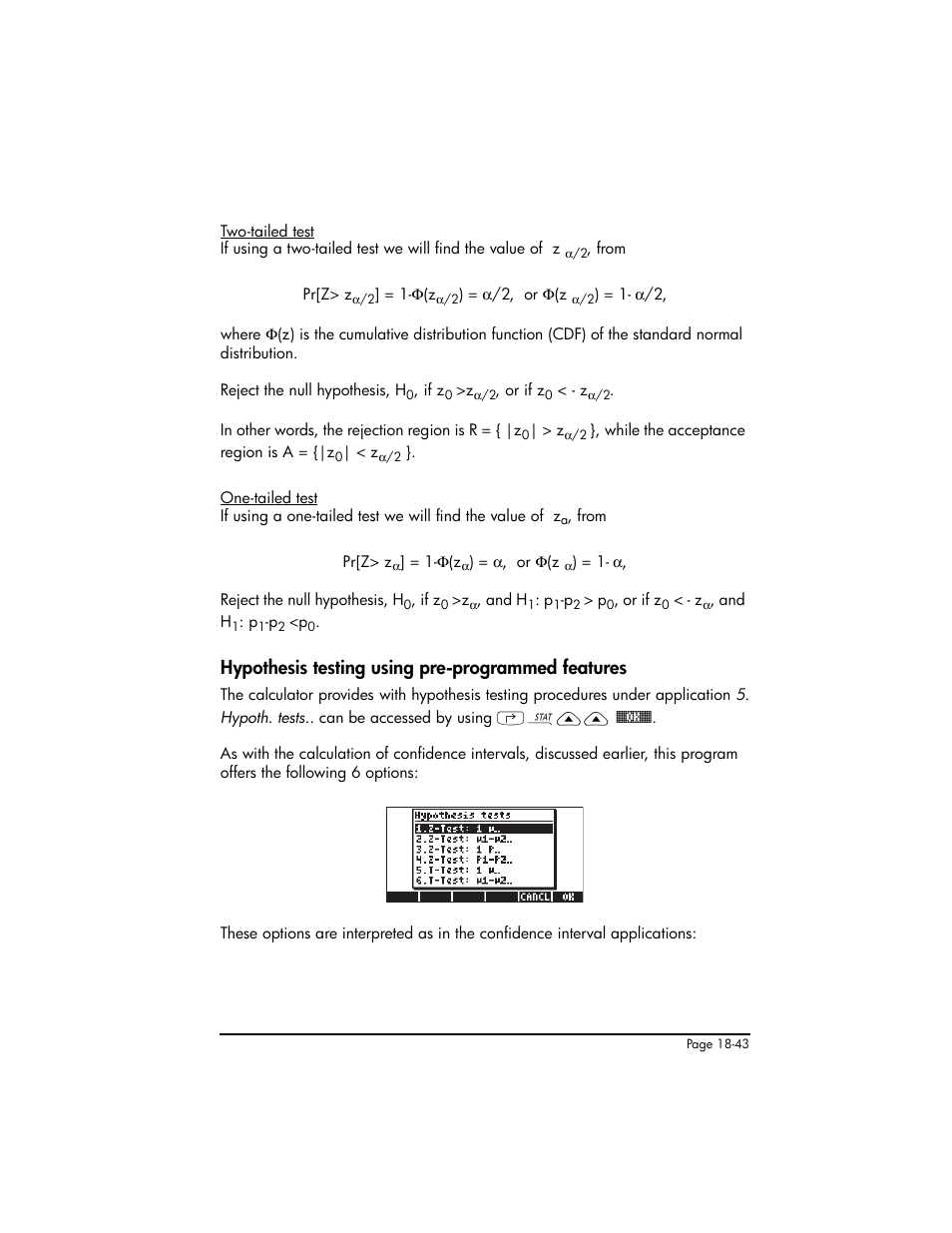 Hypothesis testing using pre-programmed features | HP 50g Graphing  Calculator User Manual | Page