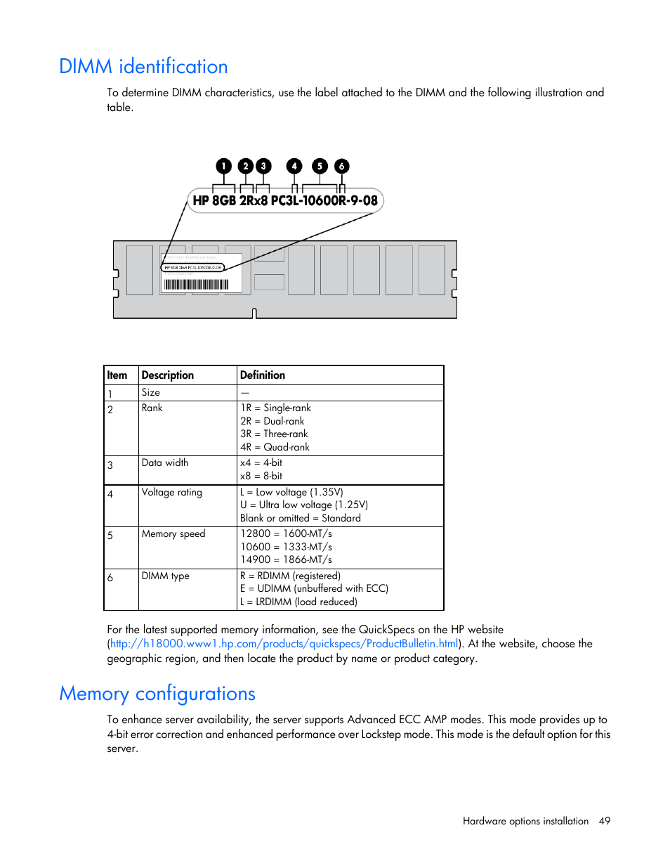 Dimm identification, Memory configurations | HP ProLiant