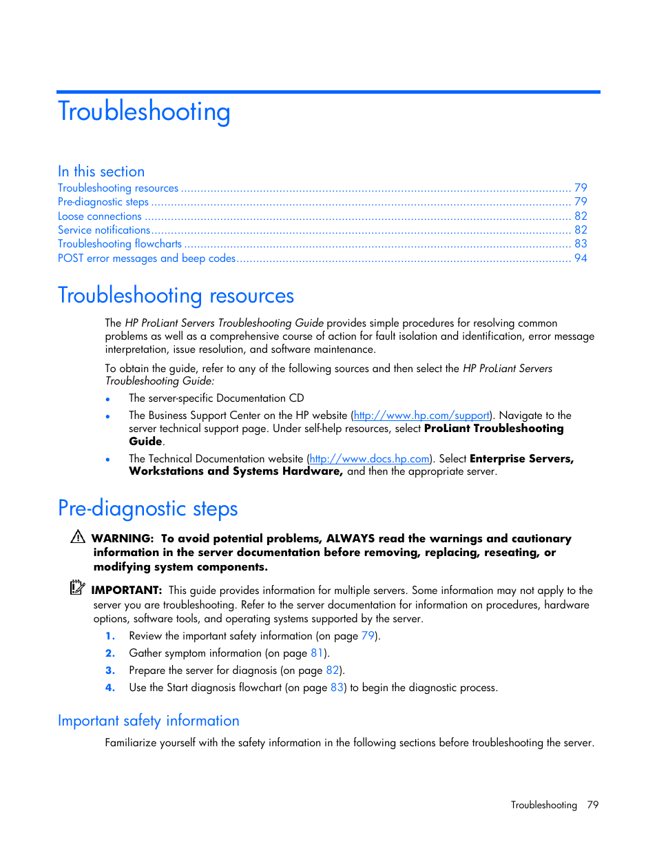 Troubleshooting, Troubleshooting resources, Pre-diagnostic steps | HP  ProLiant DL360 G5 Server User Manual | Page 79 / 118