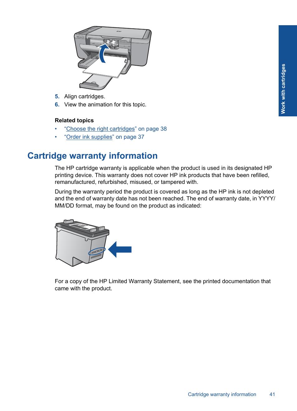 Cartridge warranty information | HP Deskjet F4580 All-in-One Printer User  Manual |