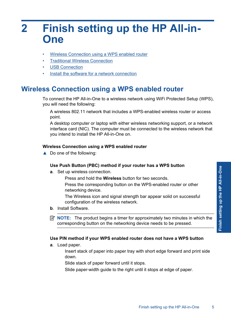 Finish setting up the hp all-in-one, Wireless connection