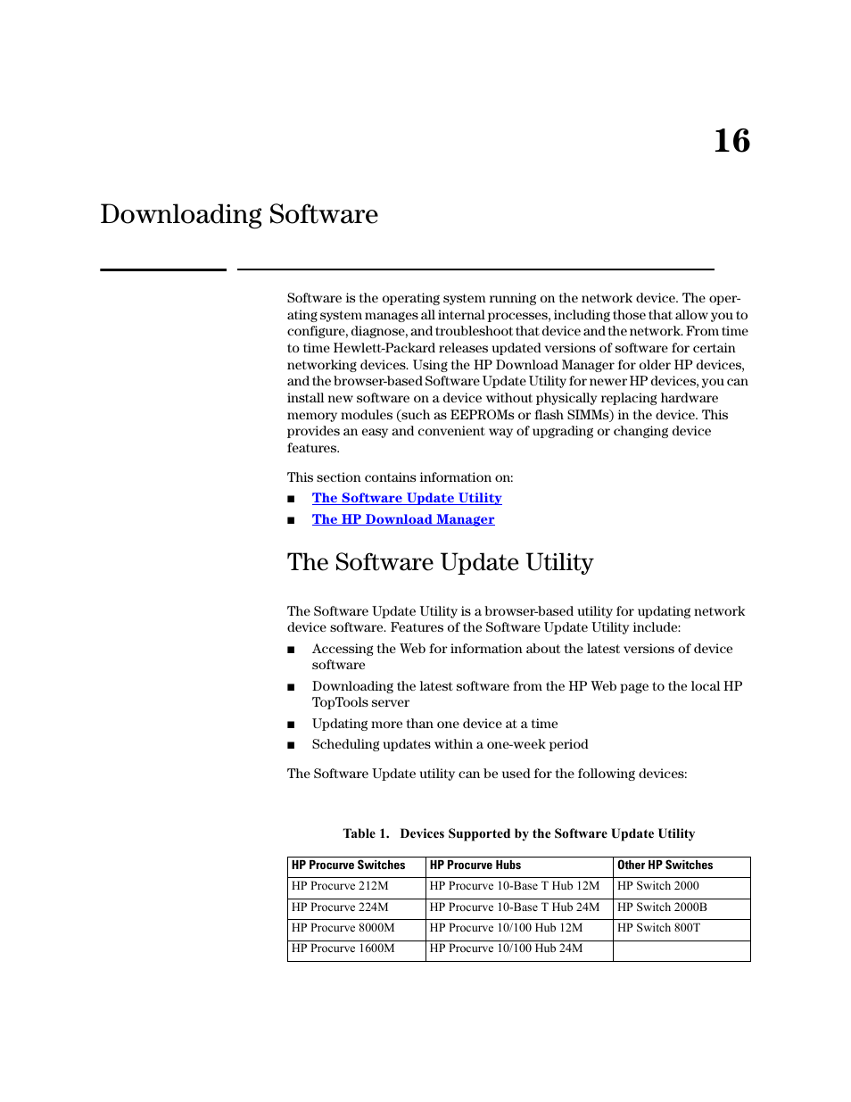 Downloading software, The software update utility, 16