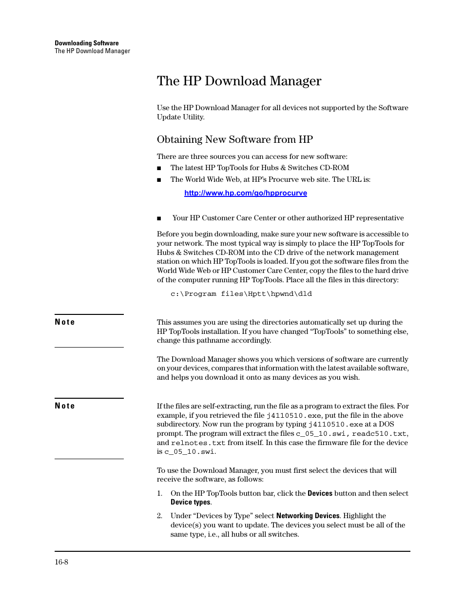 The hp download manager, Obtaining new software from hp, Obtaining ...
