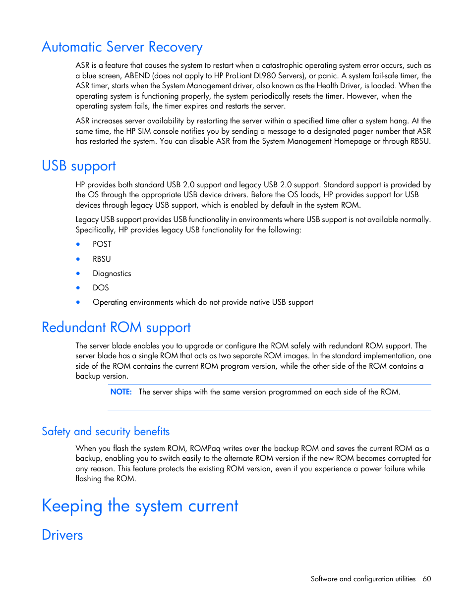 Automatic server recovery, Usb support, Redundant rom support | HP
