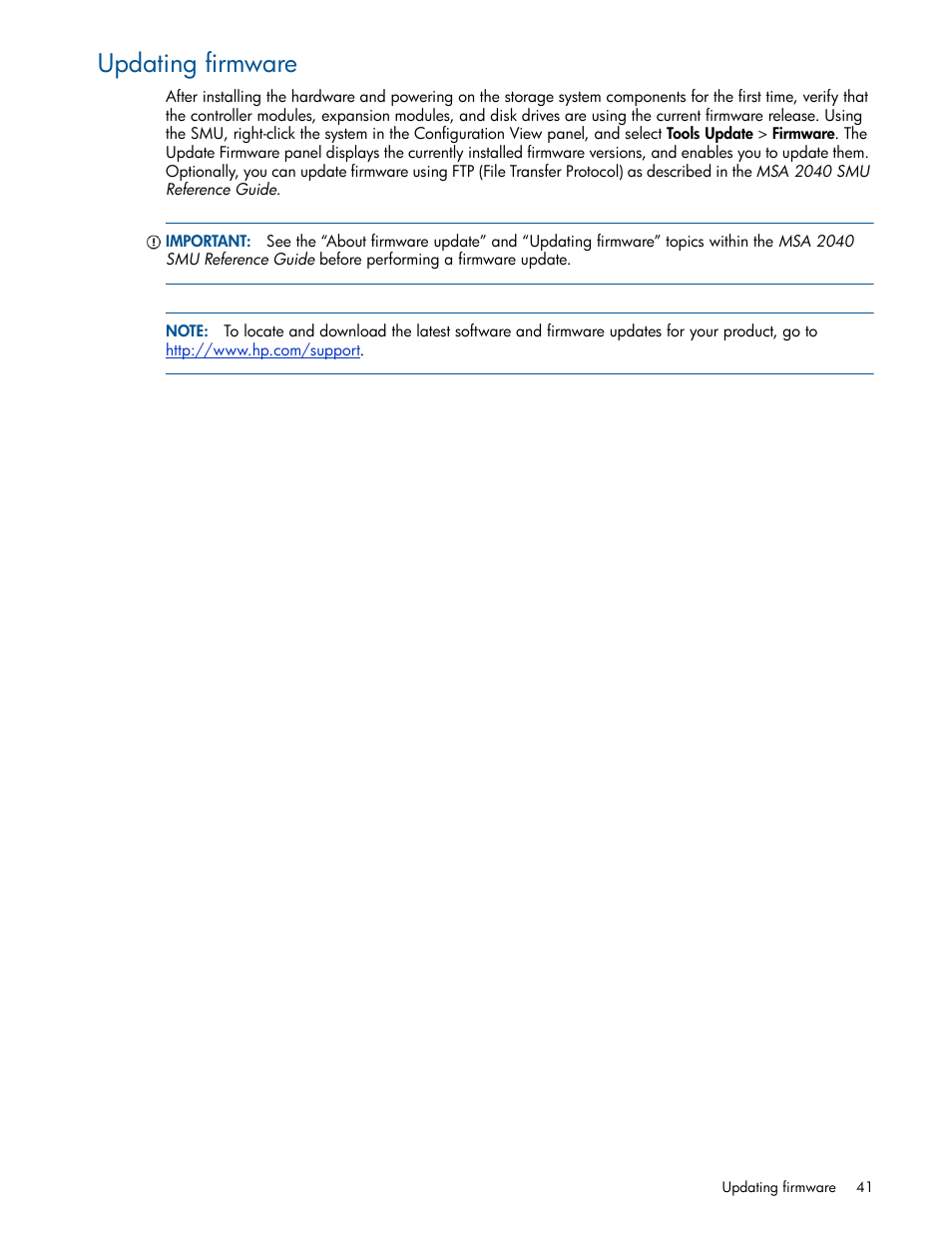 Updating firmware | HP MSA 2040 SAN Storage User Manual