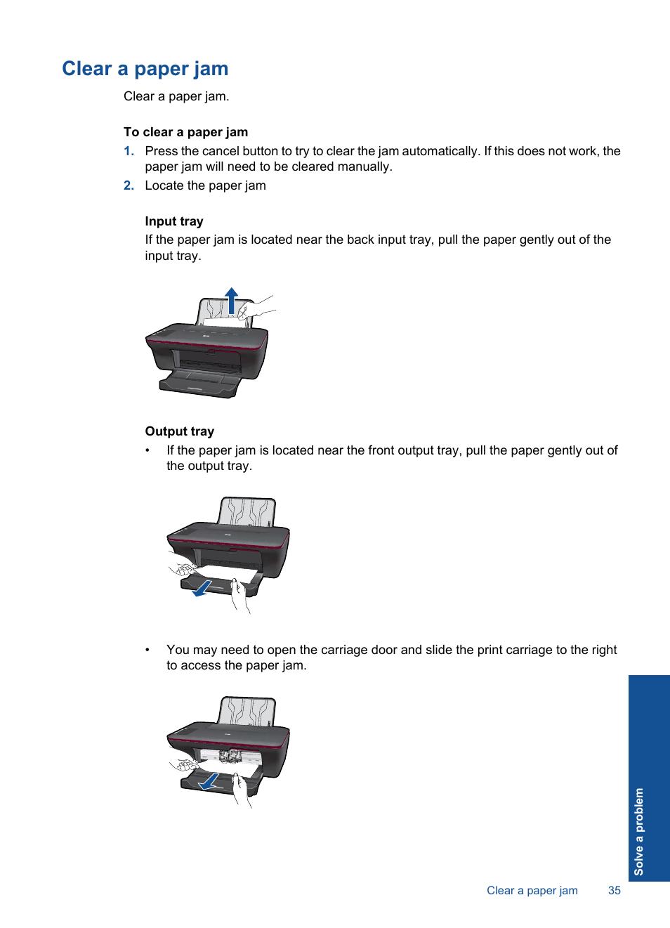 Clear a paper jam | HP Deskjet 1056 All-in-One Printer - J410a User