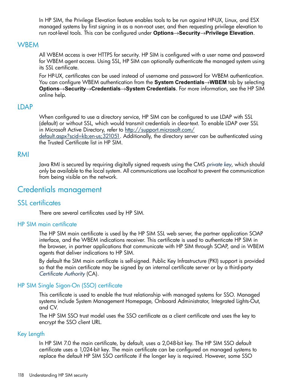 Wbem Ldap Credentials Management Hp Systems Insight Manager User