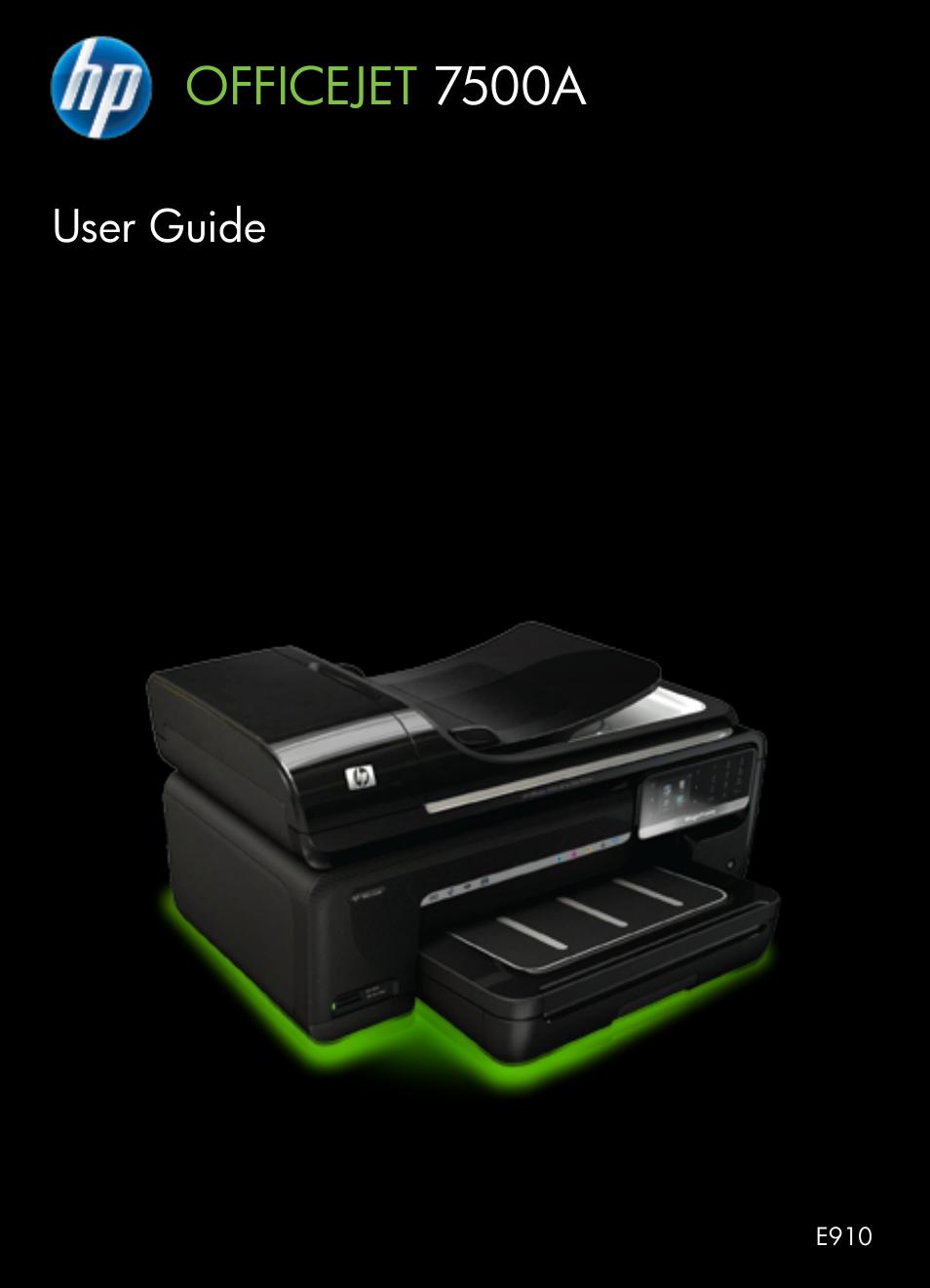 hp officejet 7500a wide format e all in one printer e910a user rh manualsdir com HP Officejet 7500A Cartridges HP Officejet Pro 7500A