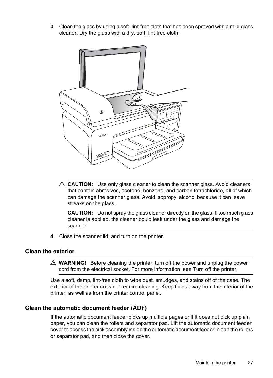 Clean the exterior, Clean the automatic document feeder (adf