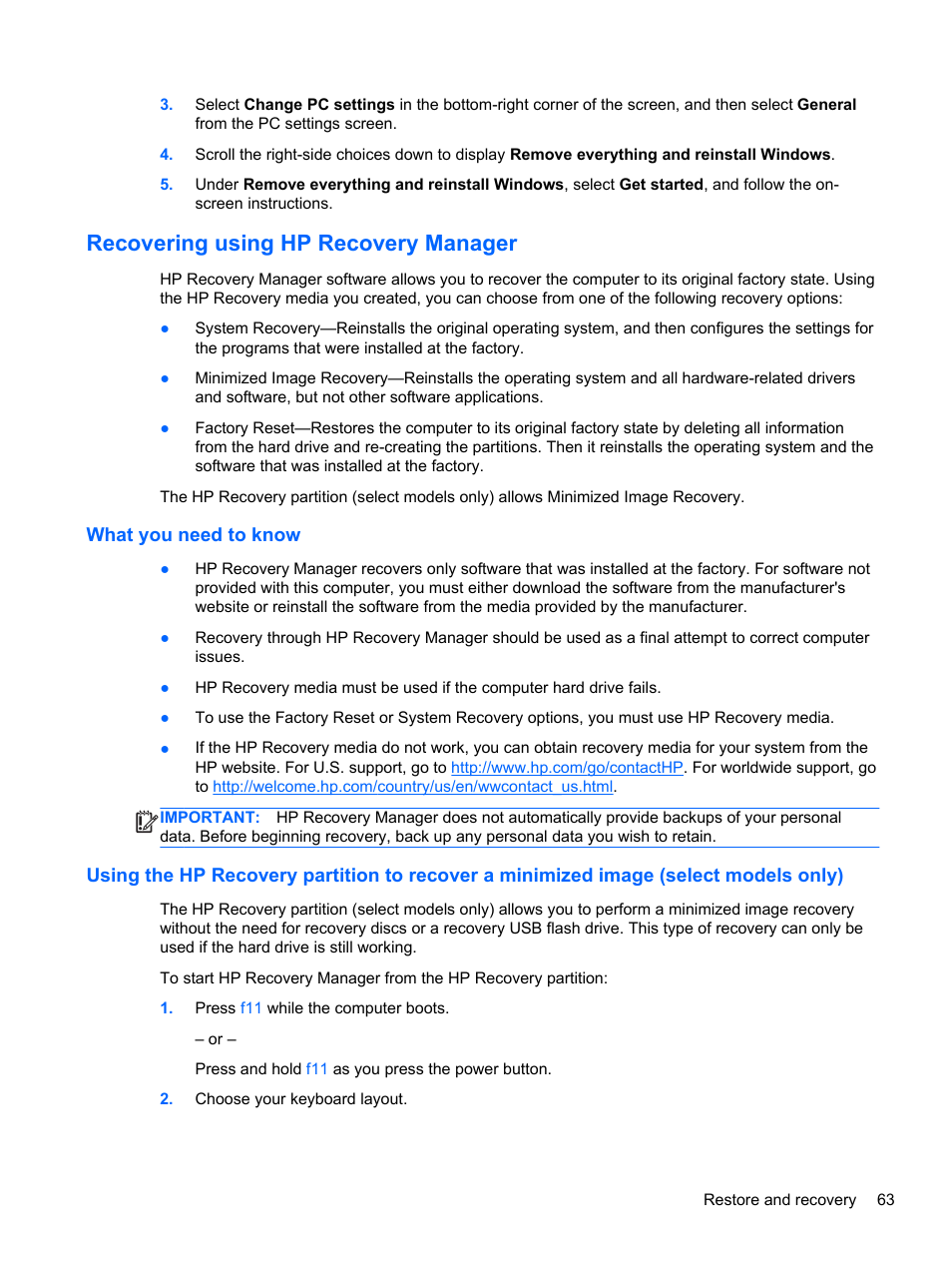 Recovering using hp recovery manager, What you need to know