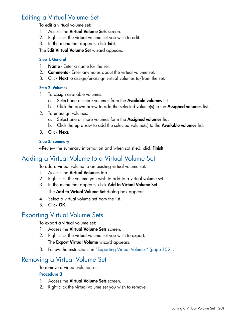 Editing a virtual volume set, Adding a virtual volume to a