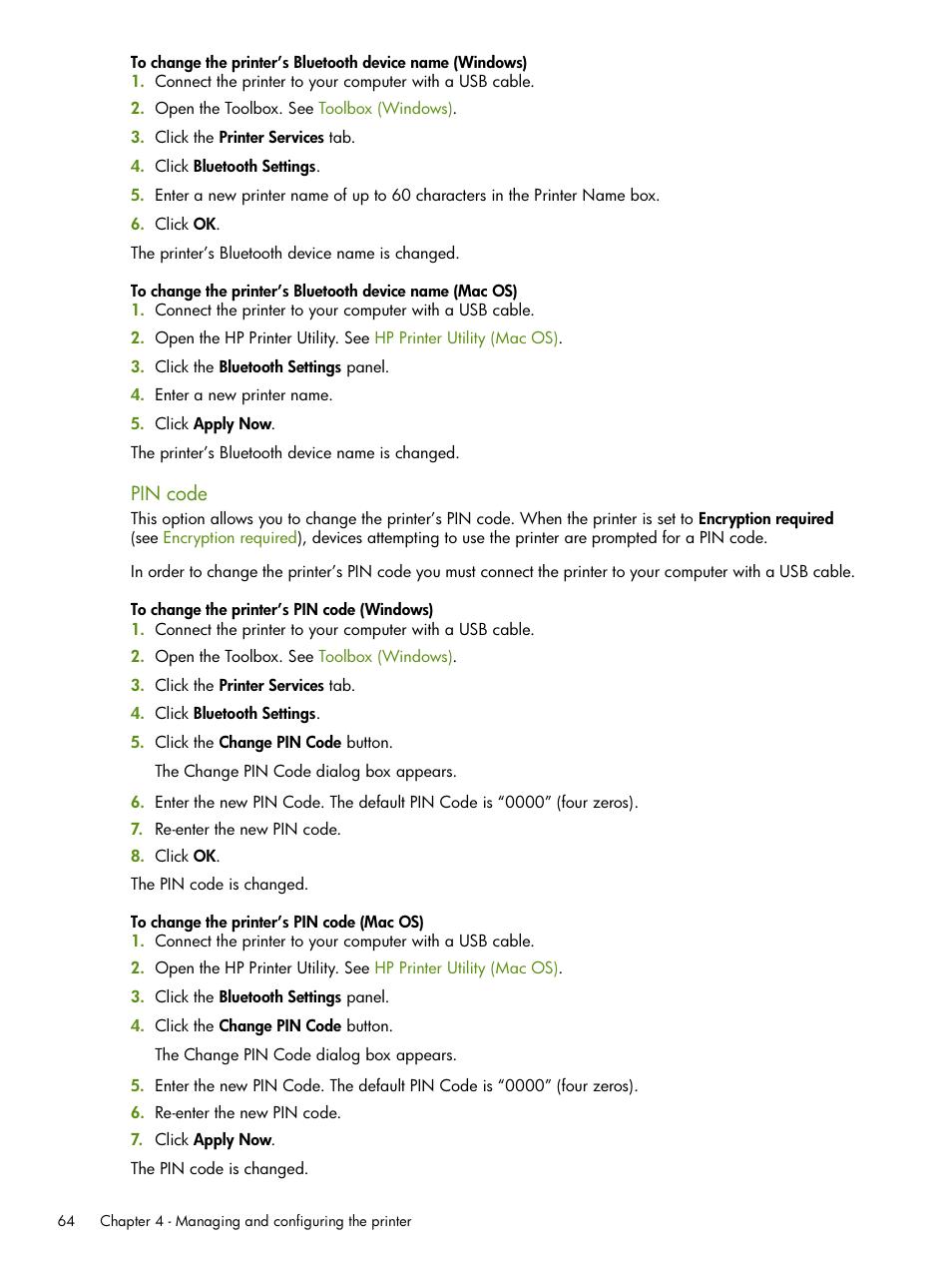 Pin code | HP Deskjet 460cb Mobile Printer User Manual