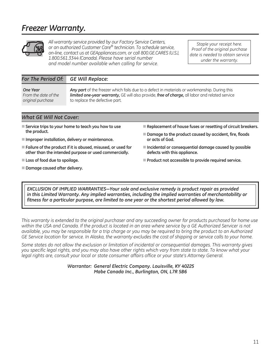 Ge Freezer Fcm7suww Freezer Warranty Ge Fcm7suww User Manual Page 11 36