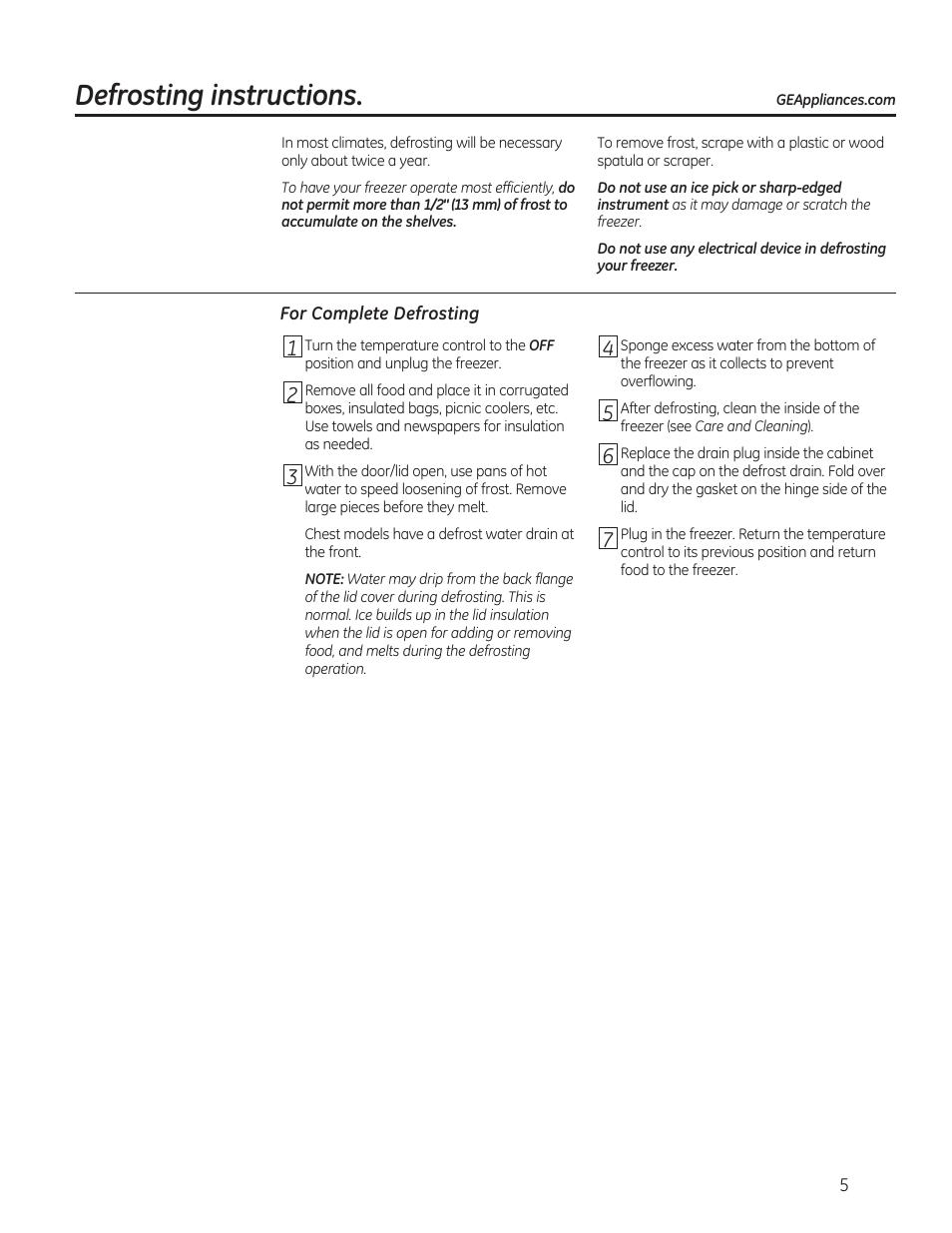 Ge Freezer Fcm7suww Defrosting Instructions Ge Fcm7suww User Manual Page 5 36