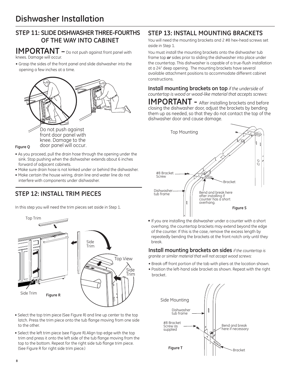 Dishwasher Installation Important Step 12 Install Trim Pieces Rca Wiring Diagram Ge Pdt750ssfss User Manual Page 8 48