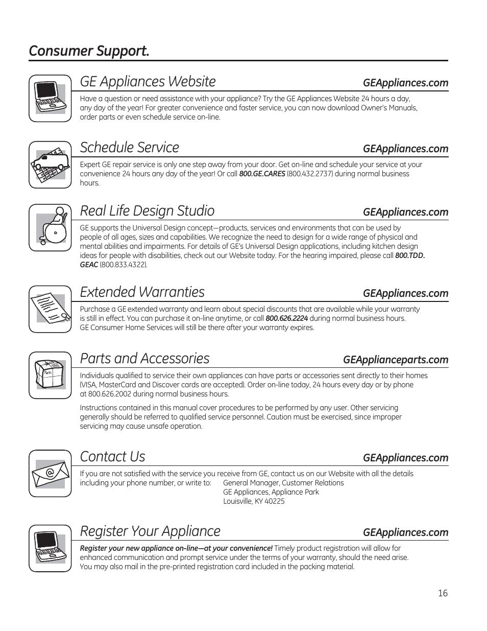Consumer support  ge appliances website, Schedule service