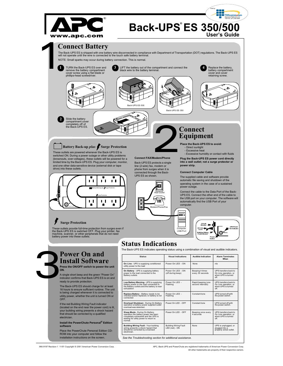 apc es 500 user manual 2 pages
