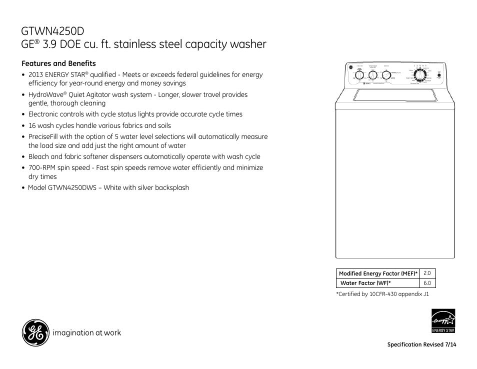 Gtwn4250d Ge  9 Doe Cu  Ft  Stainless Steel Capacity