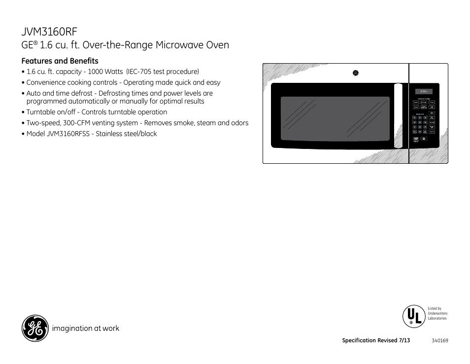Jvm3160rf 6 Cu Ft Over The Range Microwave Oven Ge