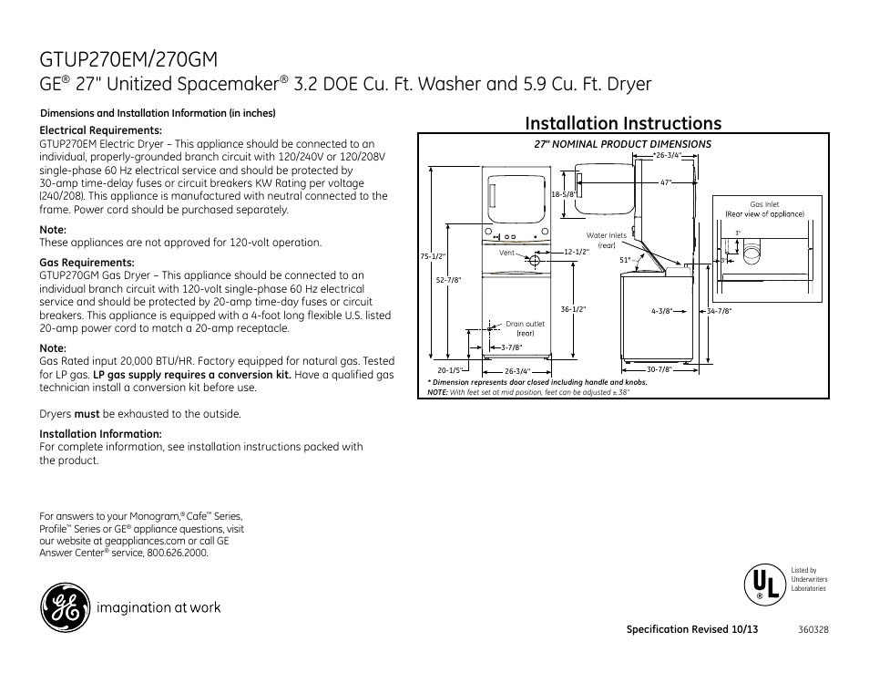 GE GTUP270EMWW User Manual | 3 pages | Also for: GTUP270GMWW on