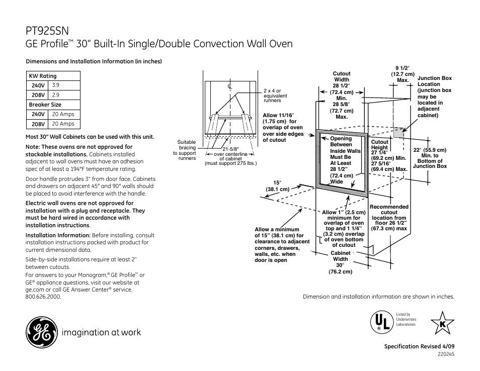 Ge Pt925snss User Manual