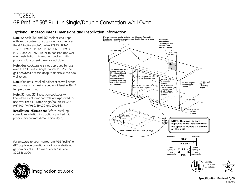 pt925sn  installation instructions  cutout for 30