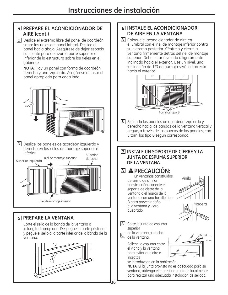 Instrucciones de instalación, Precaución, Prepare la ventana | GE ...