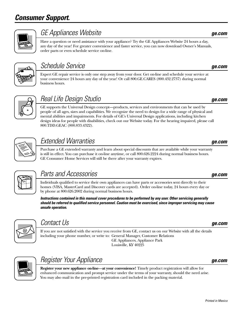 Consumer Support Ge Liances Website Schedule Service