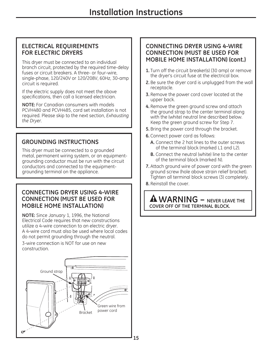 Installation Instructions Warning Electrical Requirements For Wiring Dryer Circuit Electric Dryers Ge Dcvh480ekww User Manual Page 15 108