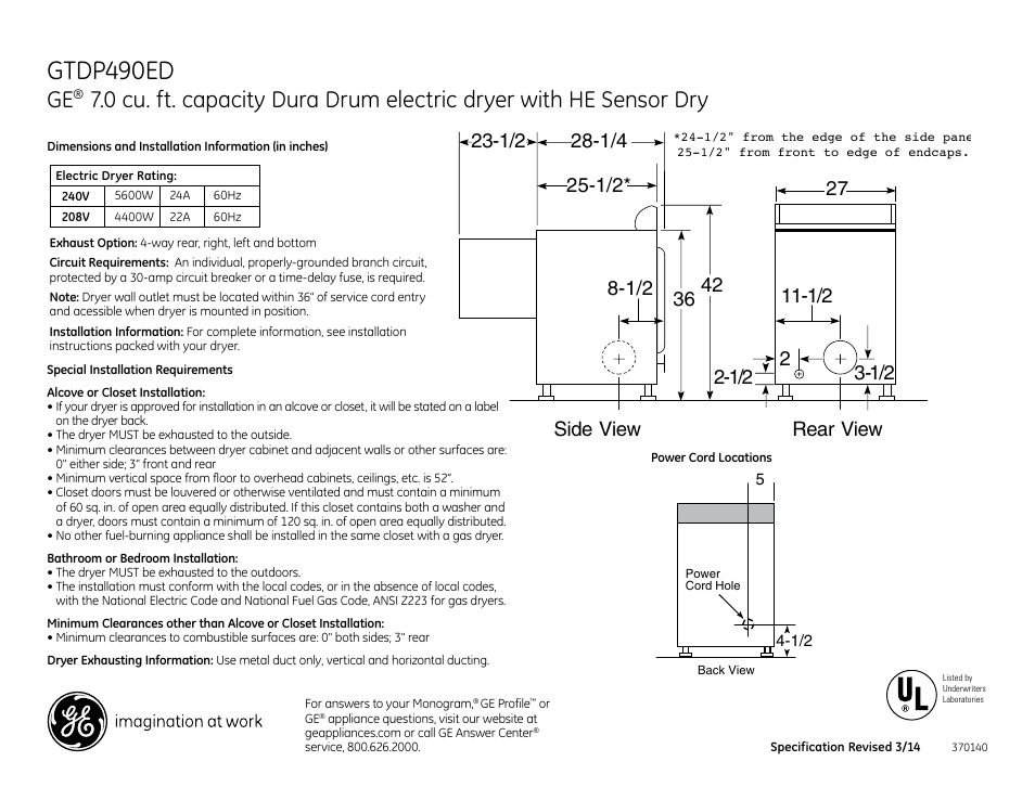 GE GTDP490EDWS User Manual | 3 pages on