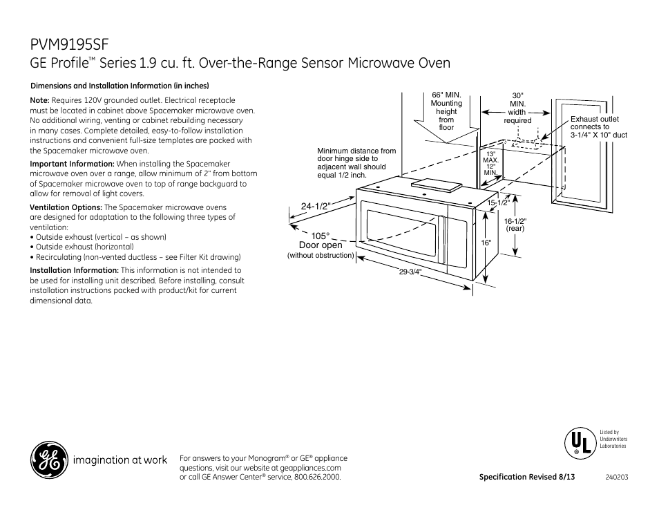 Ge Pvm9195sfss User Manual 3 Pages