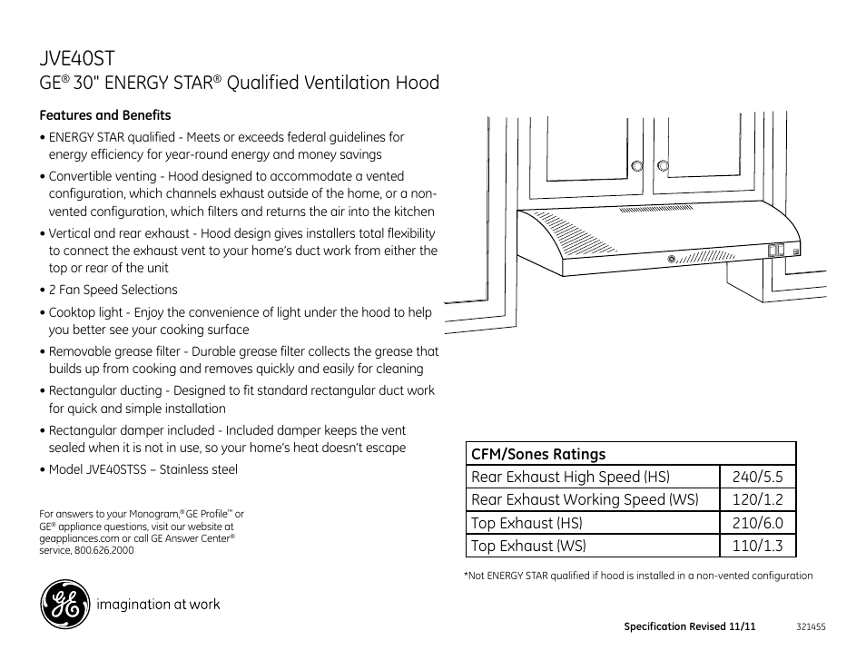 jve40st 30 energy star qualified ventilation hood ge jve40stss rh manualsdir com Industrial Ventilation Guide ACGIH Industrial Ventilation Manual