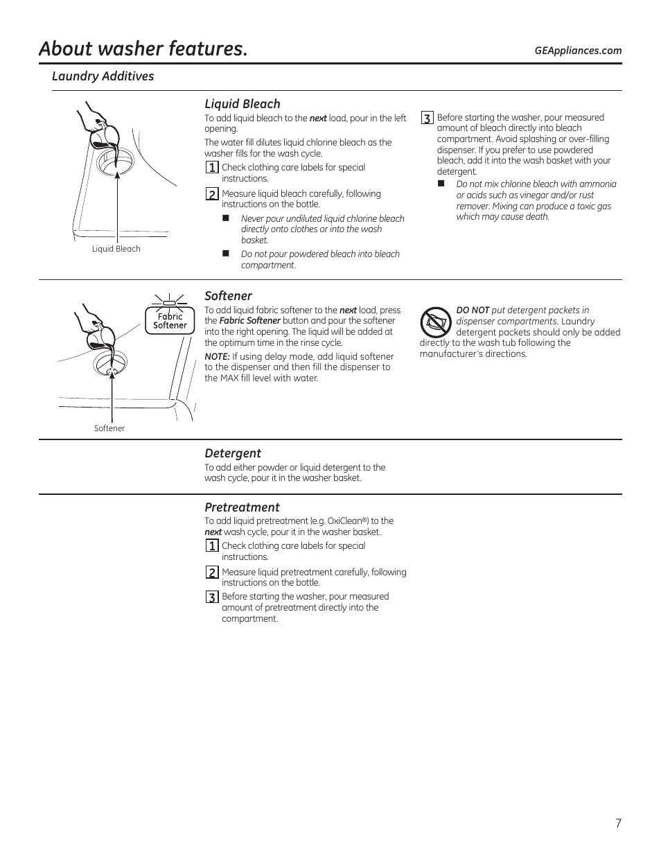 About washer features | GE GTWN7450HWW User Manual | Page 7 / 32