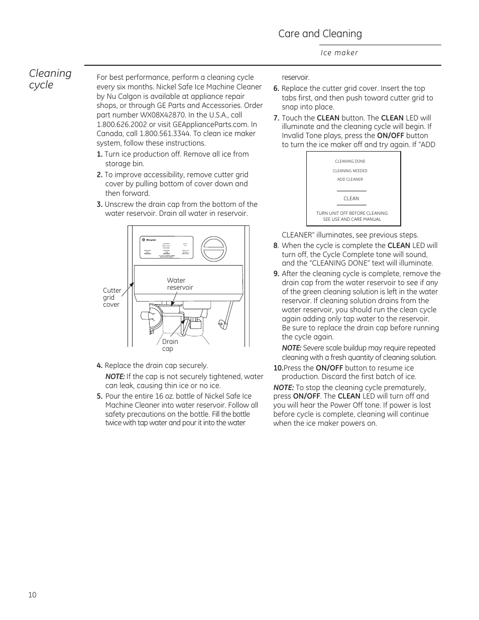 Care and cleaning, Cleaning cycle | GE ZDIS150ZSS User Manual | Page 10 / 16