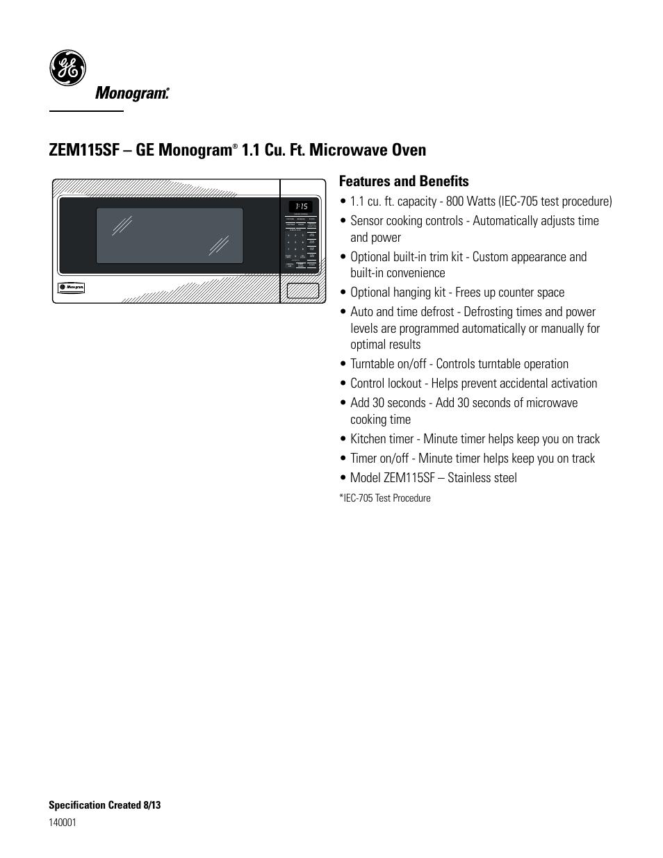 zem115sf ge monogram 1 cu ft microwave oven features and rh manualsdir com GE Electric Clocks Vintage GE Clock Radio