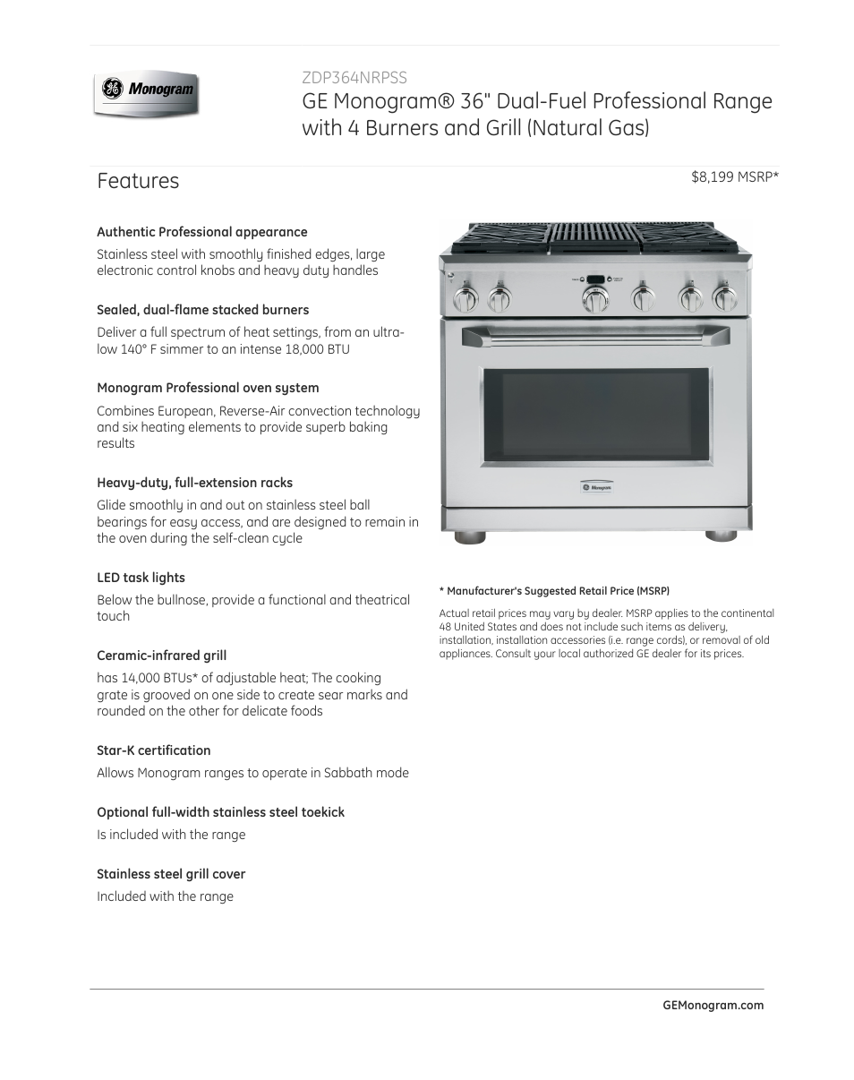 ge zdp364nrpss user manual 4 pages rh manualsdir com Indoor Outdoor Electric Grill GE Monogram Grill