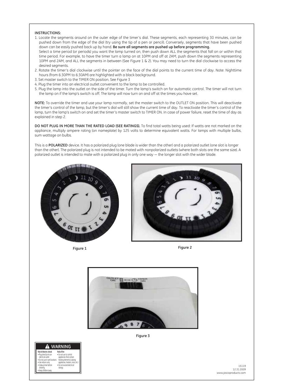 GE Plug-In 15119 15131 15417 24 hour Mechanical Timer User Manual ...