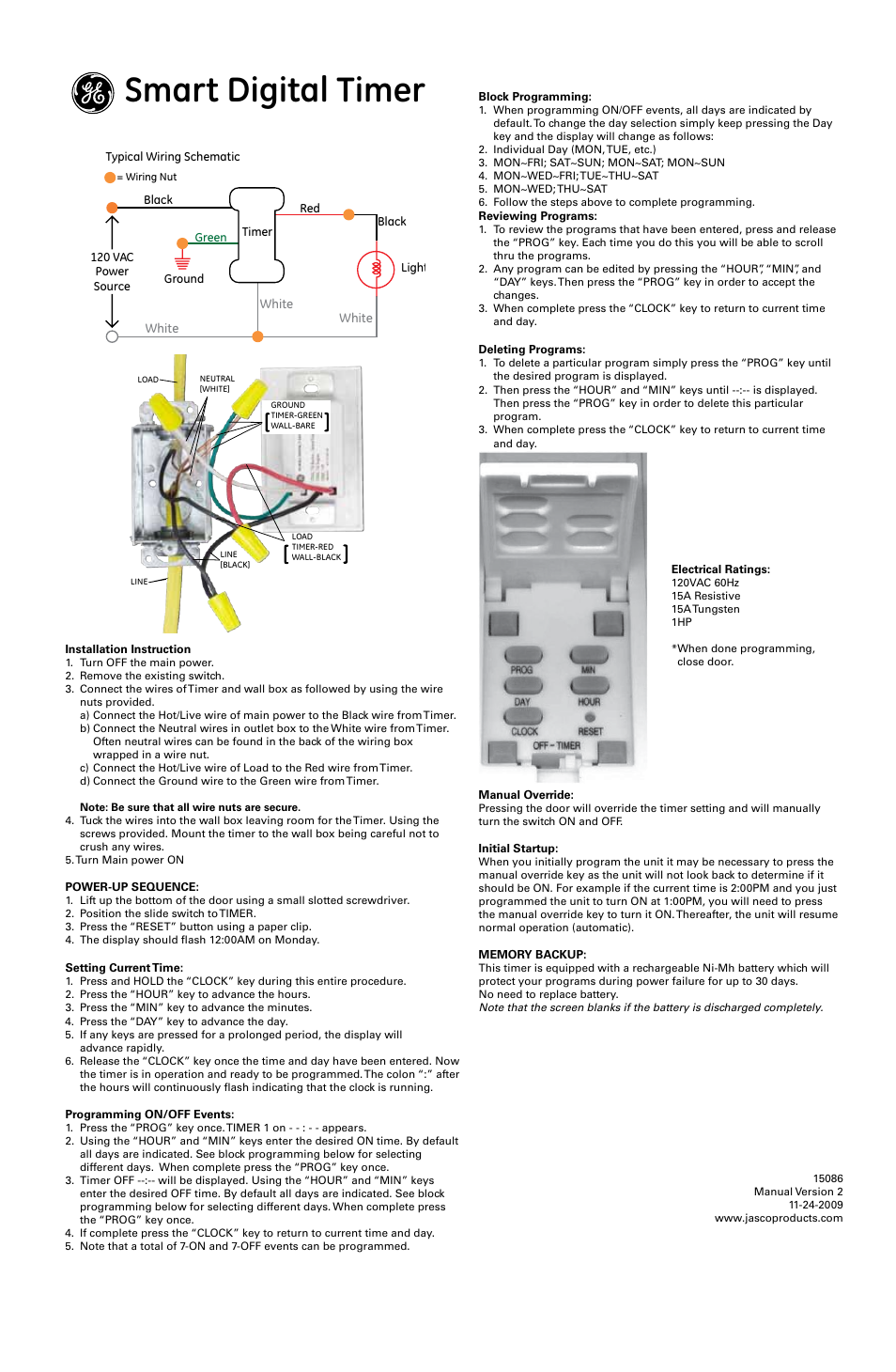 ge in wall 15086 ge smart digital timer page1 ge in wall 15086 ge smart digital timer user manual 1 page ge 15086 wiring diagram at eliteediting.co
