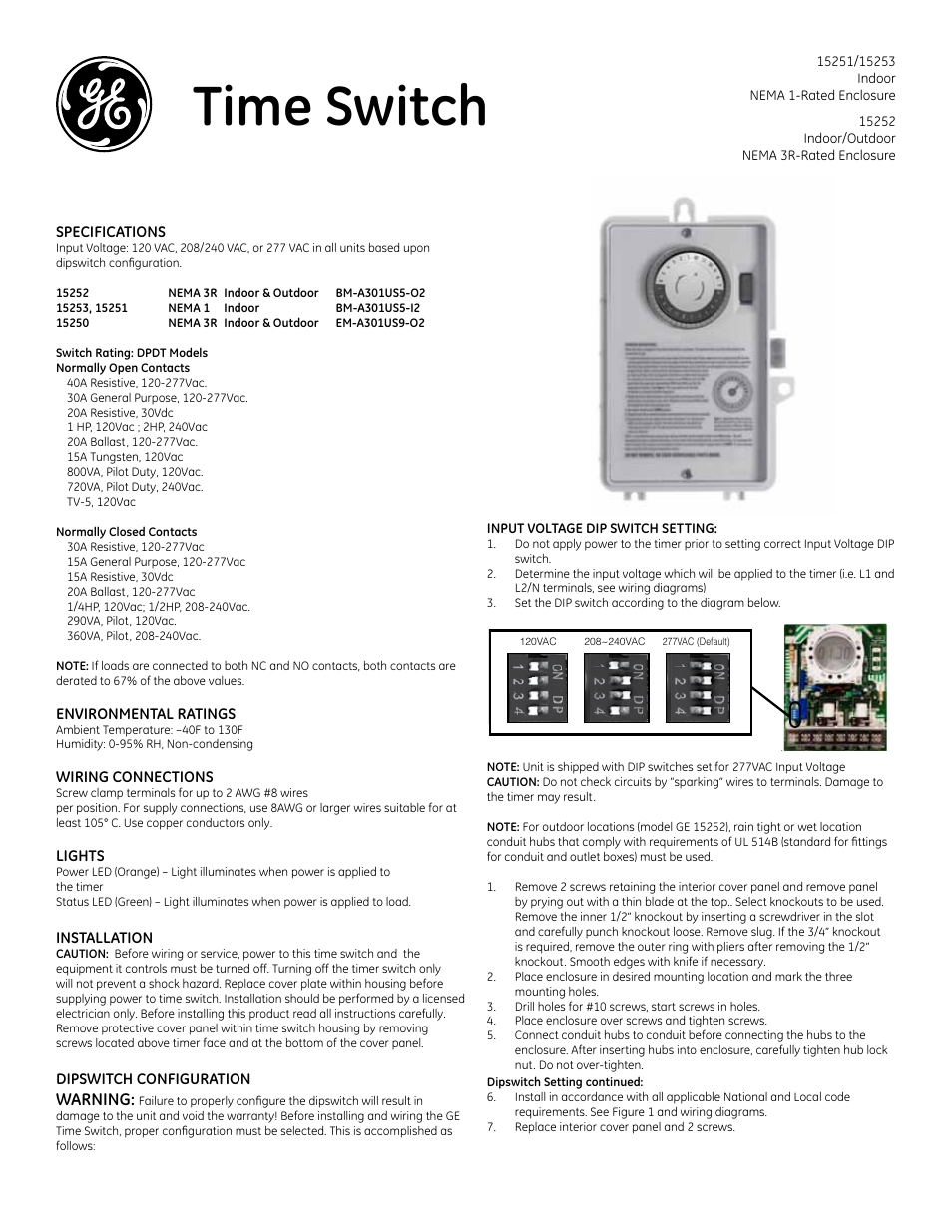 Ge Time Switch Wiring Diagram Ballast F96t12 Box Timer 15251 15252 And 15253 User Manual 2 Pages Rh Manualsdir Com T12 Electronic Advance