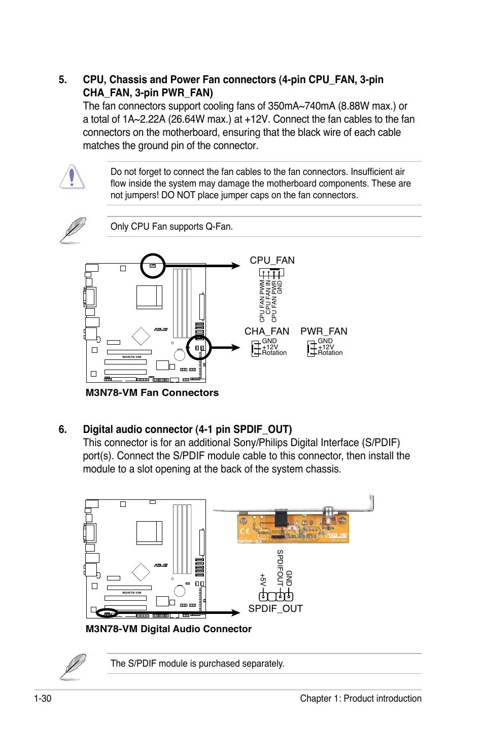 Asus M3N78-VM User Manual | Page 42 / 106 on 4 pin switch diagram, 4 pin adapter diagram, 4 pin led diagram,