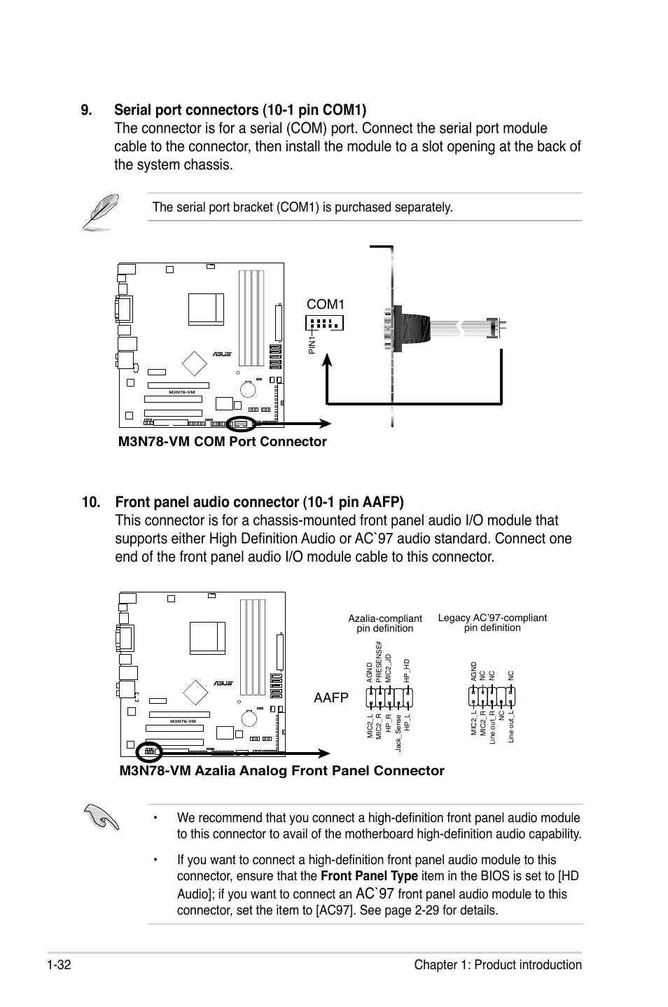 M3n78 Vm Wiring Diagram 23 Images Diagrams Serial Port Pin Asus Page44 Ac97 32 Chapter 1 Product Introduction