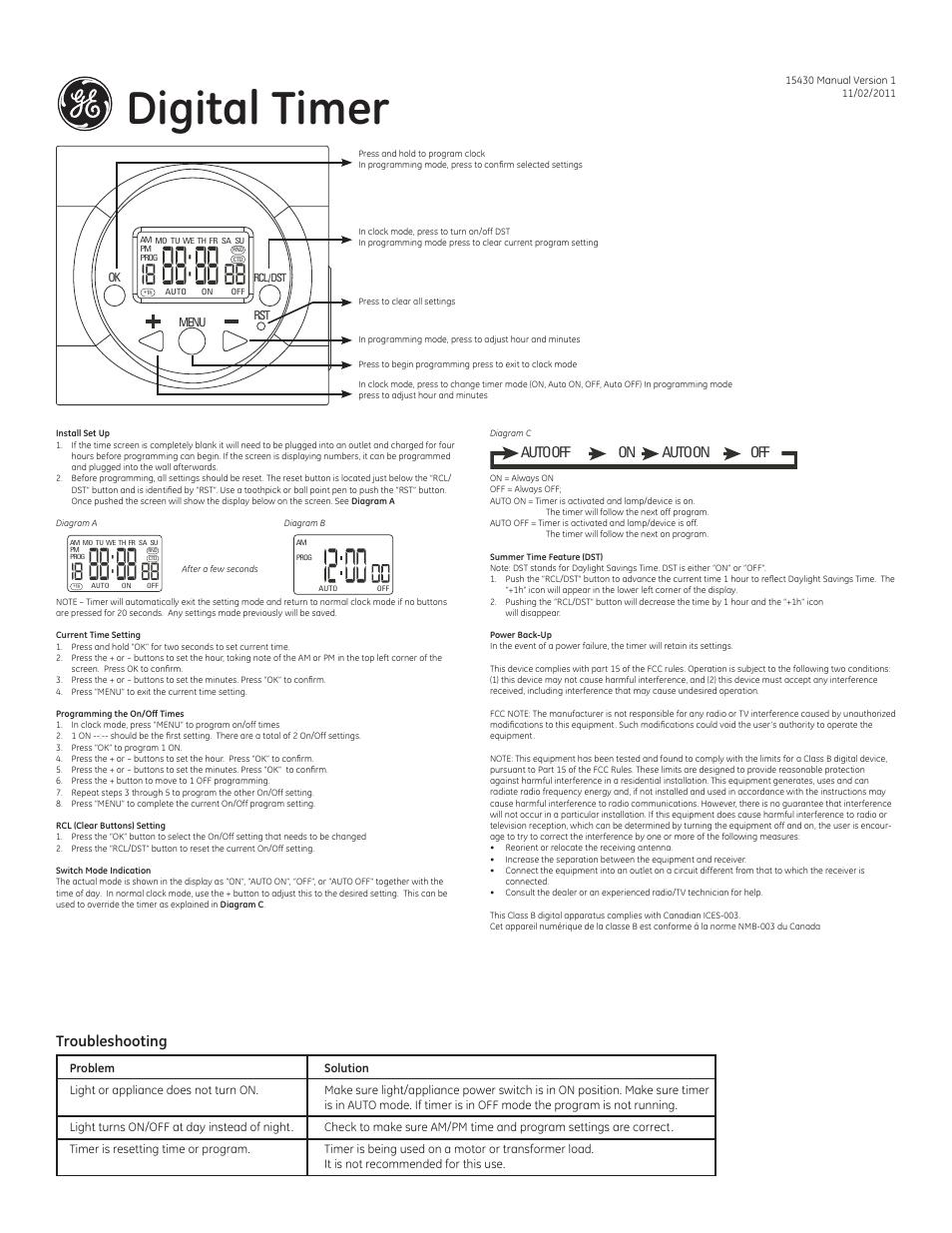 Ge 15430 Digital Timer User Manual